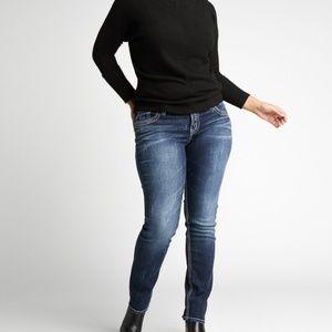 Silver Straight Leg Plus Size Suki Mid Rise Jeans